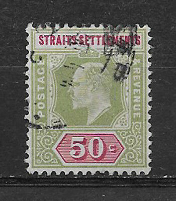 STRAITS SETTLEMENTS , MALAYA , 1902 , EDWARD VII ,  NO. 101 , 50c STAMP , USED