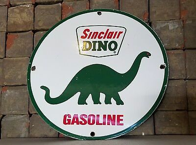 Vintage Sinclair Gasoline Porcelain Gas Oil Service Station Dino Pump Plate Sign