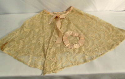 Vintage 1900s Girl's Lace Pink Trim Shawl or Cape Handmade