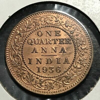 1936 India 1/4 Anna Red Uncirculated  Coin