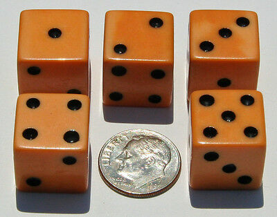 """GREAT five 5/8"""" Bakelite DICE Dark Butterscotch Patina NOT USED New Old Stock NR"""