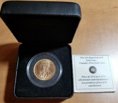 1914 $10 Gold 1/2 Ounce Coin Hand Selected Bank of Canada Canadian Hoard COA