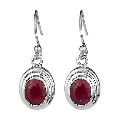 925 sterling Silver Ruby gemstone earrings jewelry 7.64g