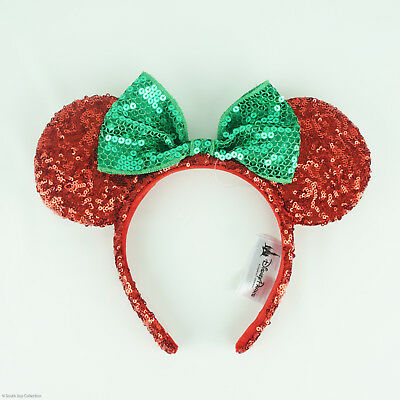 Disney Parks Minnie Mouse Ears Red Green Sequin Headband Bow Christmas Holiday