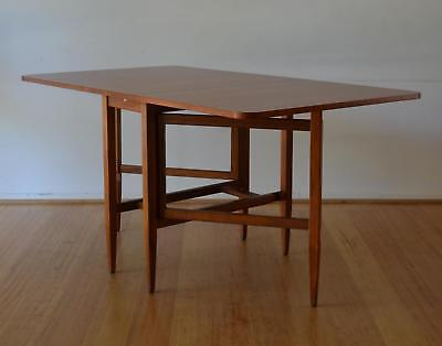 Retro MCM Mid Century Teak Extension Drop Leaf Dining Table By Parker