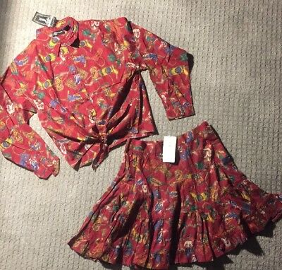 Phool Cowboy Boot NWT Tiered Peasant Skirt Button Up Shirt Set Women's Large