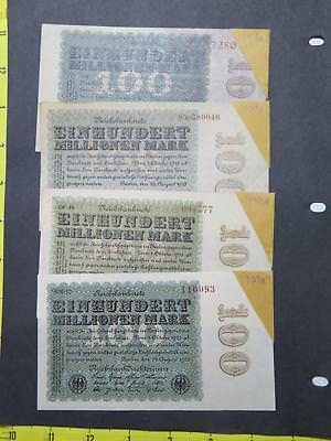 Germany 5Th Issue 1923 100 Millionen Mark Banknote Currency Collection Lot P107