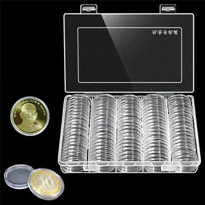 100X 30mm Transparent Round Coins Holder Portable Storage Case Container Display