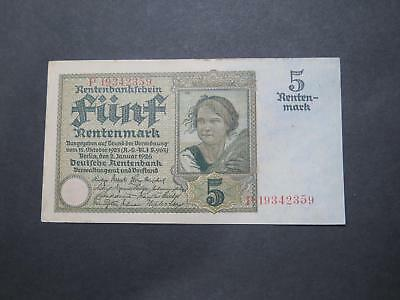 Germany 1925-1926 5 Funf Rentenmark World Banknote Currency Collection P169