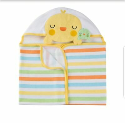 NEW Gerber Terry Hooded Bath Wrap Neutral Yellow Chick Baby Bath Towel