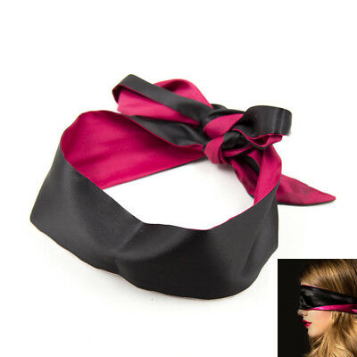Sexy Soft Silk Satin Eye Mask Shade Blindfold Ribbon Reversible Bondage Patch