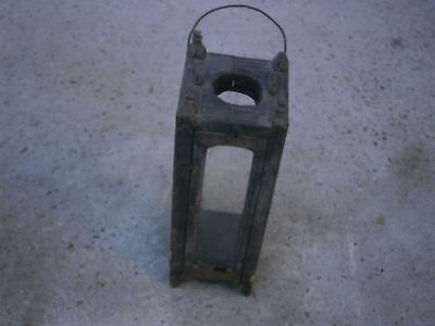 Antique Vintage Wooden Lantern Lighter Lamp With Perfect Dark Patina