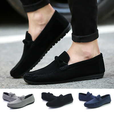 Fashion Mens Faux Suede Casual Loafers Slip on Boat Flat Shoes Driving Moccasins