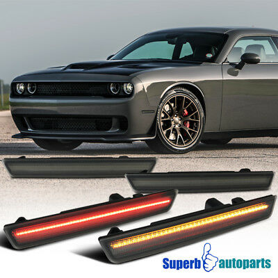 15 18 Dodge Challenger Led Smoke Front Rear Side Marker Lights Signal Lamps Set