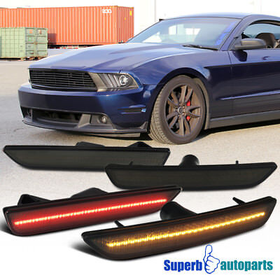 10-14 Ford Mustang LED Smoke Front+Rear Side Marker Lights Signal Lamps Set of 4
