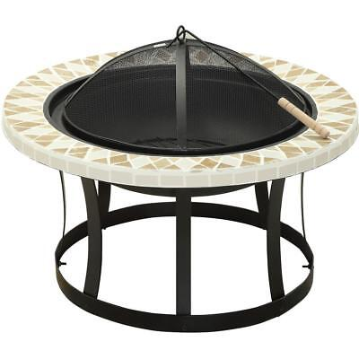 Ardoch 30 in. Cast Iron Bowl Wood Outdoor Patio Fire Pit Triangle Tile Detailing
