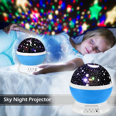 Best Night Light 9 Colors LED Star Projector Rotating Kids Baby room USB Cable