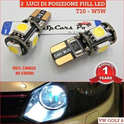 2 Luci di POSIZIONE LED T10 W5W CANBUS VW GOLF 6 gtd gti Volkswagen RLine 6500K