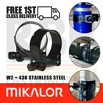 Pack of 2 Mikalor Supra W2 Gloss Black Stainless Steel TBolt Exhaust Hose Clamps