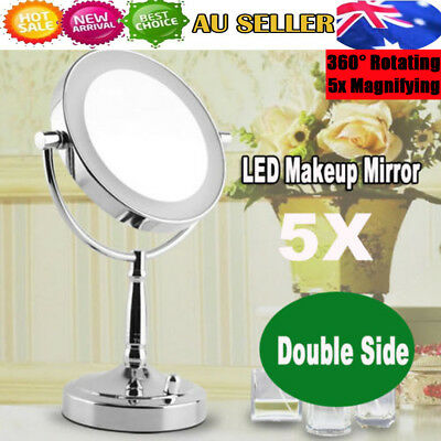 Beauty Makeup Cosmetic 5X Magnifying Stand Mirror with LED Lights Double Side AU