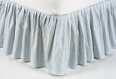 BLUE TICKING STRIPE  Queen BEDSKIRT : VINTAGE COUNTRY BED SKIRT RUFFLE NELLY
