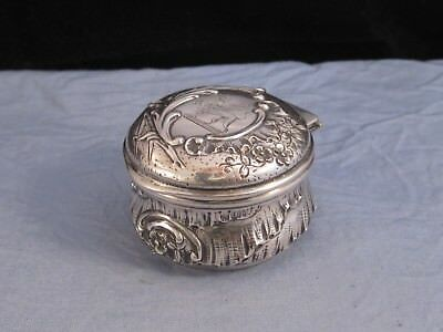 French Antique Armorial Silver Griffin Argent Ancien Dragon Trinket Box Pill Pot