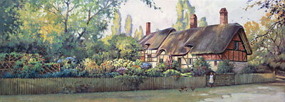 An English Cottage by Paul Landry-Cottage,gardens,pastoral,girl,chickens
