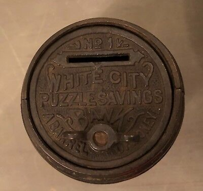 Vintage Cast Iron 1894 No. 1 White City Puzzle Savings Barrel/Bank with Cart