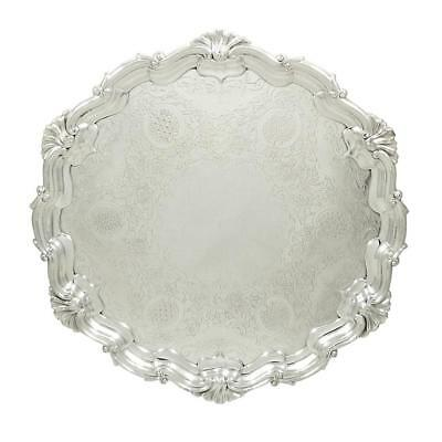 """Antique Edwardian Sterling Silver 12 1/2"""" Tray/salver - 1903"""