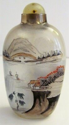 Antique VTG Chinese Early 1900s Snuff Bottle Inside Reverse Painted Village Sea