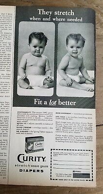 1965 curity baby diapers stretch we've gauze fit a lot better ad
