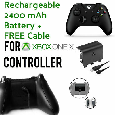 Rechargeable 2400mAh Battery For Xbox One X Controller w/ USB Charging Cable