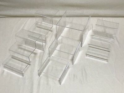 Set of 6 Acrylic Clear Plastic Step Riser Stand Display 3.5 Inches High