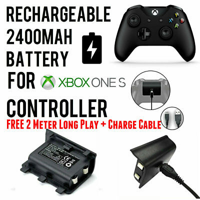 2400mAh Rechargeable Battery w/ Play&Charge Cable For Xbox One S Controller Pad