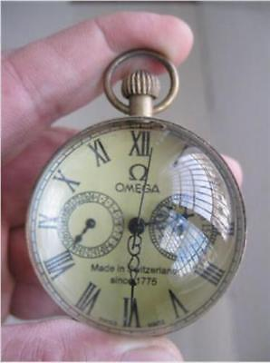 Chinese-Old-antique-brass-clock-round-spherical-glass-mechanical-pocket-watch