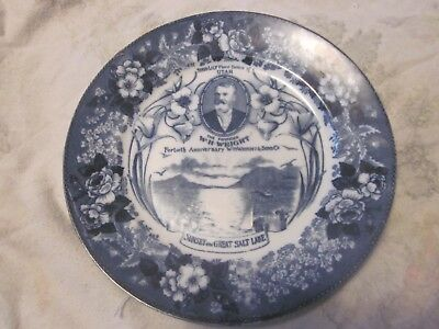 Advertising Plate- 40th Anniversary W.H.Wright - Ogden Utah -Sego Lily Emblem
