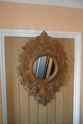 Gorgeous Large Vintage Limed Pine Floral Carved Circular Wall Mirror