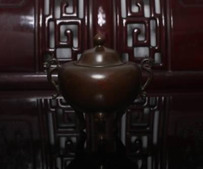Old Chinese Bronze Incense Burner Two Dragon Xuande MK