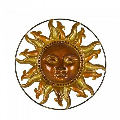 Glitzhome 20'' Metal Sun Face Art Wall Hanging Decor Garden Home Patio Sculpture
