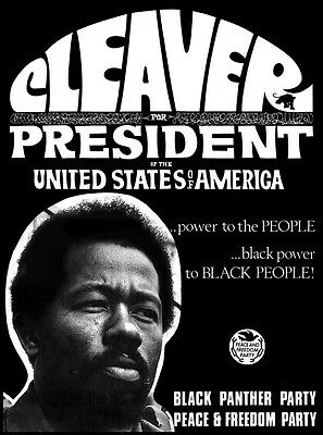 Very Nice Mint 1968 Eldridge Cleaver For President Poster Black Panther Party