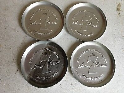 Set Of 4 Seagram's Seven Crown Whiskey Metal Coasters