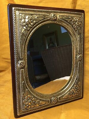SILVERO Quality Control Easel Framed Silverplate Ornate Border Table Top MIRROR