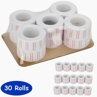 30 Rolls of 600 White Price Tags Sticker Gun Labels Refill For MX 5500 w/ 3 ink