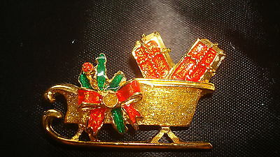 Vintage Avon*christmas Sleigh With Gifts Pin*new In White Box*1992 Old Stock