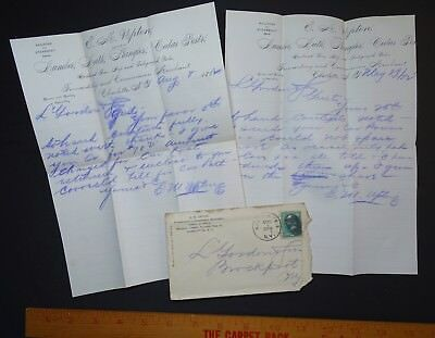 RARE 1882 Advertising Cover & Letters LOT - Charlotte NY Upton Lumber Railroad
