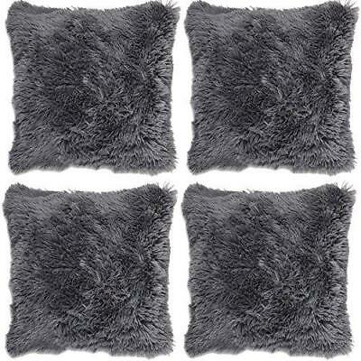Grey 4 X Long Pile Super Soft Shaggy Cushion Cover Pillow Case Decorative Modern