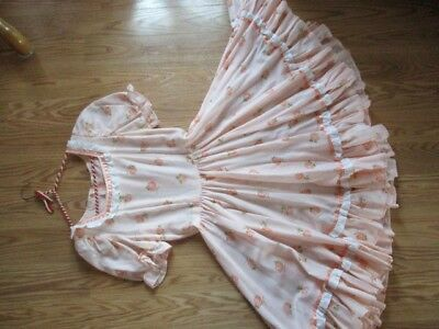 VintageSquare Dance Dress CostumeSz8 PinkPeach Color with Flowers