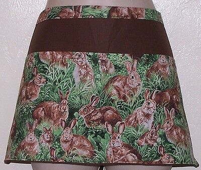 Black apron Bunnies in grass waitress server waiter waist apron 3 pockets