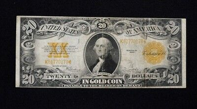 1922 $20 Dollar Gold Certificate US Note