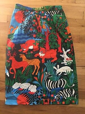 Whimsical Animal Midi skirt- elastic waist. Very vintage anthro/ creatures/ mod